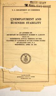 Cover of: Unemployment and business stability