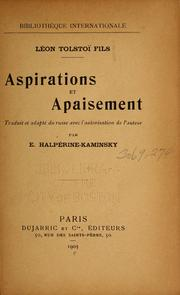 Cover of: Aspirations et apaisement