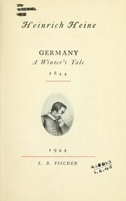 Cover of: Germany, a winter's tale, 1844: English version by Herman Salinger; introd. by Hermann Kesten.