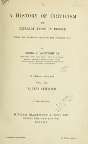 Cover of: A history of criticism and literary taste in Europe from the earliest texts to the present day