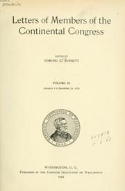 Cover of: Letters of members of the Continental Congress