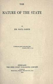 Cover of: The nature of the state