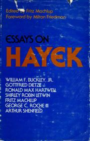 Cover of: Essays on Hayek