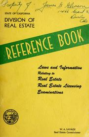 Cover of: Reference book | California. State Real Estate Division