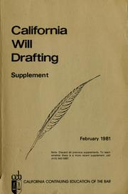 Cover of: California will drafting practice |