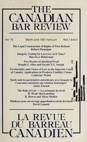 Cover of: The Canadian bar review | Canadian Bar Association