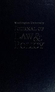 Cover of: Washington University journal of law and policy