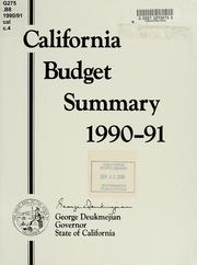 Cover of: California budget summary, 1990-91