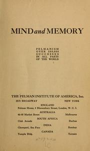 Cover of: Mind and memory