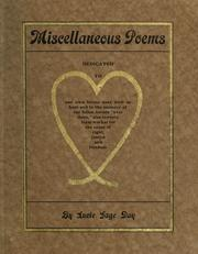 Cover of: Miscellaneous poems ...