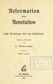 Cover of: Reformation wider Revolution