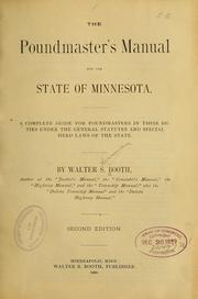 Cover of: The poundmaster's manual for the state of Minnesota
