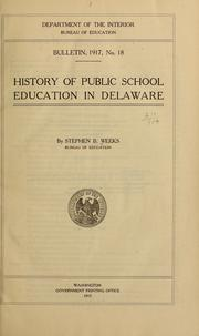 Cover of: History of public school education in Delaware