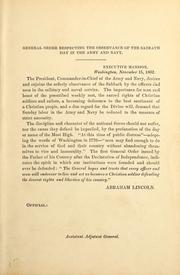 Cover of: General order respecting the observance of the Sabbath day in the Army and Navy
