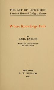 Cover of: Where knowledge fails
