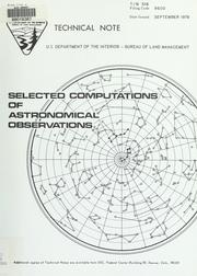 Cover of: Selected computations of astronomical observations