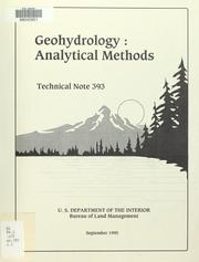 Cover of: Geohydrology