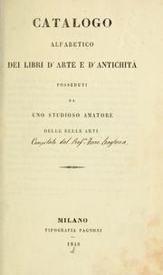 Cover of: Catalogo alfabetico dei libri d'arte e d'antichitá