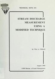Cover of: Stream discharge measurement using a modified technique