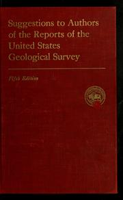 Cover of: Suggestions to authors of the reports of the United States Geological Survey
