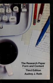 The research paper by Audrey J. Roth