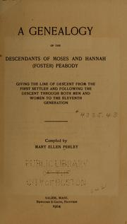 Cover of: Genealogy of the descendants of Moses and Hannah (Foster) Peabody