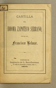 Cartilla del idioma zapoteco serrano by Francisco Belmar