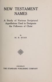 Cover of: New Testament names