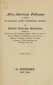 Cover of: Afro-American folksongs | Henry Edward Krehbiel