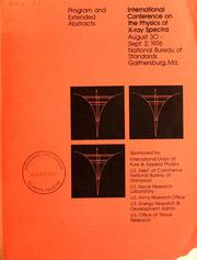 Cover of: International Conference on the Physics of X-Ray Spectra