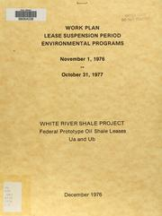 Cover of: Work plan, lease suspension period environmental programs