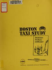 Cover of: Boston taxi study final report