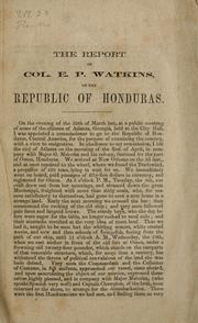 Cover of: A report on the Republic of Honduras
