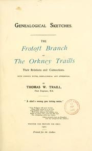 Cover of: The Frotoft branch of the Orkney Traills