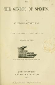 Cover of: Genesis of species