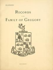 Cover of: Records of the family of Gregory