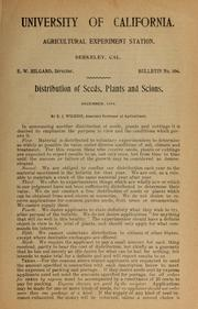 Cover of: Distribution of seeds, plants and scions
