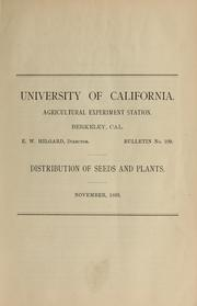 Cover of: Distribution of seeds and plants