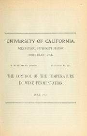 Cover of: The control of the temperature in wine fermentation