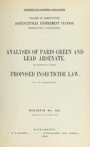 Cover of: Analyses of Paris green and lead arsenate