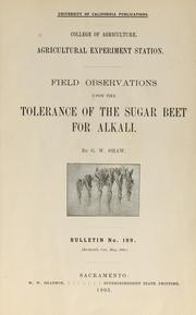 Cover of: Field observations upon the tolerance of the sugar beet for alkali