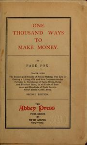 Cover of: One thousand ways to make money