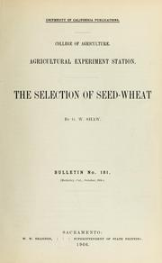 Cover of: The selection of seed-wheat