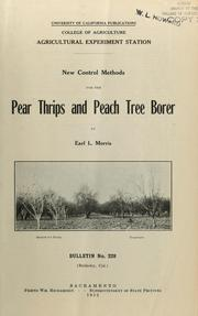 Cover of: New control methods for the pear thrips and peach tree borer