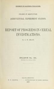 Cover of: Report of progress in cereal investigations