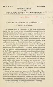 Cover of: A list of the fishes of Pennsylvania