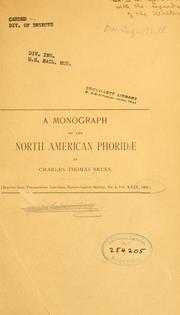 Cover of: A monograph of the North American Phoridae