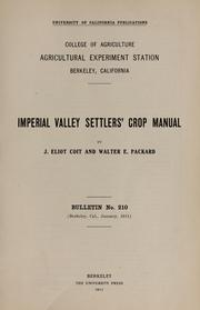 Cover of: Imperial Valley settlers' crop manual