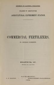 Cover of: Commercial fertilizers