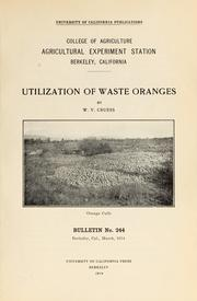 Cover of: Utilization of waste oranges